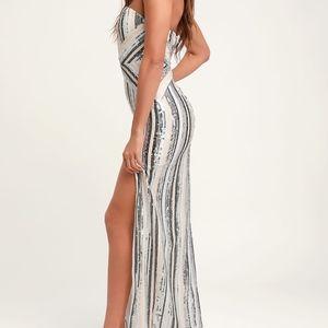 Glenda Silver Multi-Striped Strapless Sequin Maxi